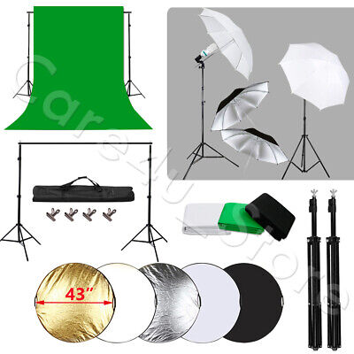 Black White Green Backdrop Umbrella Light Stand Kit Photo Reflector Studio Kit