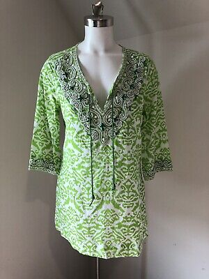 21e4c00a9dc Women Soft Surroundings beaded tunic top 3/4 Sleeves Medium M 24020