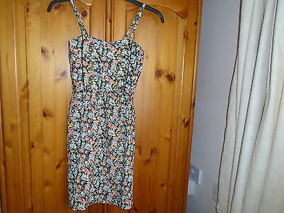 Black, green, peach floral print mini sun dress (sundress), ATMOSPHERE, size 6