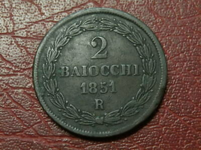 Italy Papal States 2 Baiocchi 1851 R  (2476)