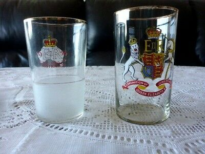 QUEEN ELIZABETH II COMMEMORATIVE GLASSES x 2