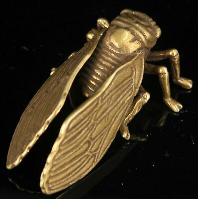 China Collectible Handwork Carving Hollow Out Brass Mini Cicada Statue