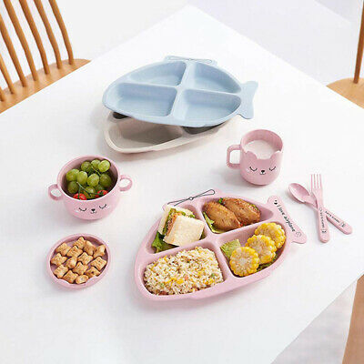 Infants Feeding Tableware Fish Shape Durable Baby Dishes With Spoon Fork Kit 6A