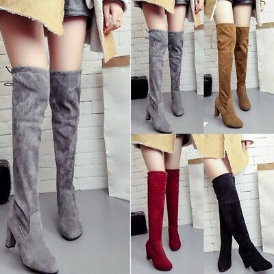 3caccd68a6b Trendy Women Lady Thigh High Boots Over The Knee Low Block Heel Flat Shoes