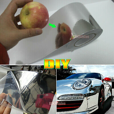 Adhesive Tape Vehicle Glossy Silver Mirror Chrome Vinyl Wrap Sticker Sheet - VL