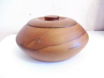 Found* Early Hand Turned Hard  Wooden  Lidded  Trinket Pot