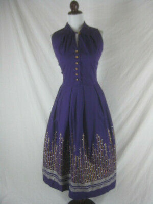 Vtg 50s 60s Vicky Vaughn Womens Vintage Purple NWOT Hand Painted Party Dress W28