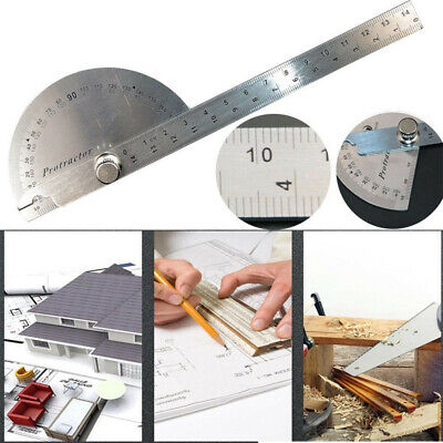 0-180° Stainless Steel Protractor Angle Finder Arm Rotary Measuring Ruler Tool