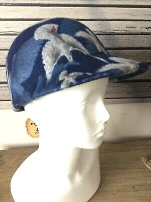 Newsboy style 1950s ladies hat brand new with tags Navy Dove Pattern