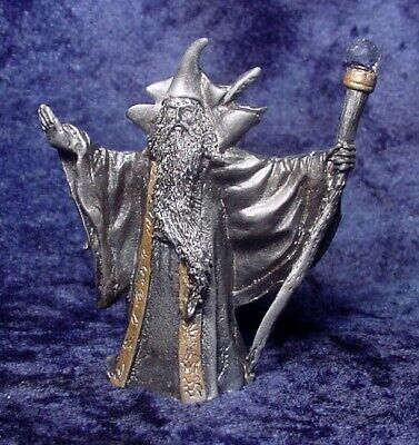 Pewter WIZARD with DRAGON Cape & Crystals