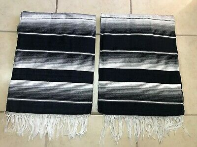 TWO PIECE SERAPE SET ,5' X 7',Mexican Blanket,HOT ROD,Covers, XXL , DARK BLUE