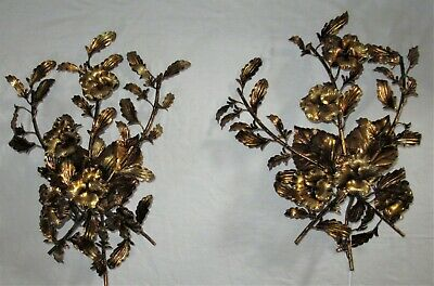 2 VTG TOLE GILT GOLD LEAF ITALY CHANDELIER WALL LIGHT SCONCES FIXTURES 1950's