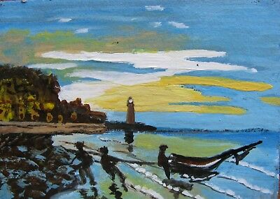 """A561   Original Acrylic Art Aceo Painting By Ljh  """"Towing Of A Boat"""""""