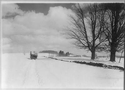 Photo:Snow-covered Road,New England,Horse-Drawn Sled,c1921