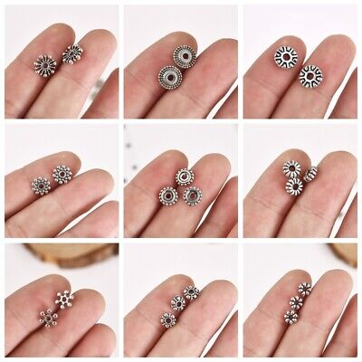 50 Pcs Flower Stainless Steel Loose Spacer Beads Vintage Silver Plated Charms