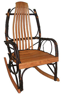 Amish Bentwood Rustic Hickory and Oak Rocker Rocking Chair sale 269.00