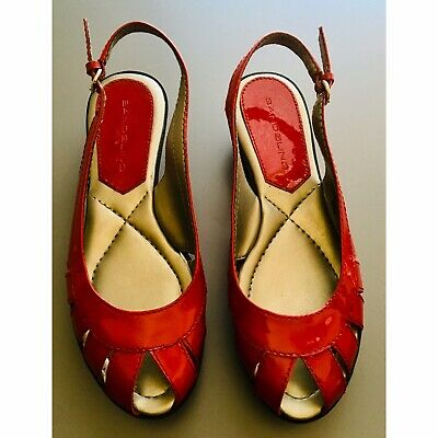 516cf71d024 VINTAGE BANDOLINO PEEP Toe Heels Pumps Italian Red Leather Spring ...