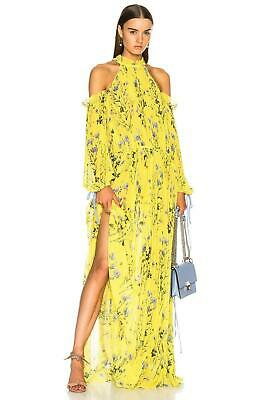 21e6ed29befc New- SELF-PORTRAIT Floral Printed Yellow Cold Shoulder Beauty Maxi Dress  Womens