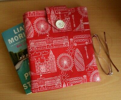 Handmade Book Sleeve / Cover / Protector Fabric London Scenes Gift