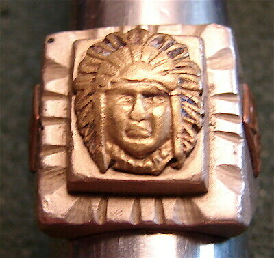 Vintage Hand Made Mexican Biker Ring 1940-50's------Size 8-3/4