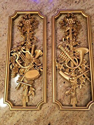 Vintage Homco 2 Gold Music musical instruments Wall Hanging decor Plaques 1964