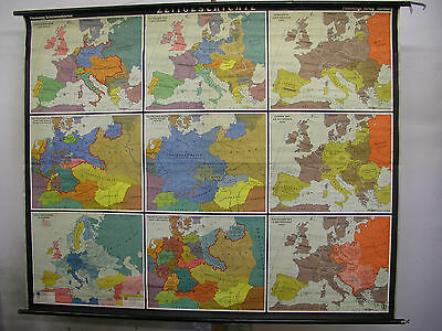 Schulwandkarte Beautiful Old History 207x168cm Vintage Map Decoration~1957 Top