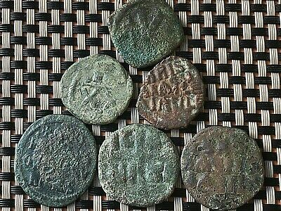 Lot Of 6 Ancient Byzantine Medieval Bronze Coins Ae Follis & Half-Follis