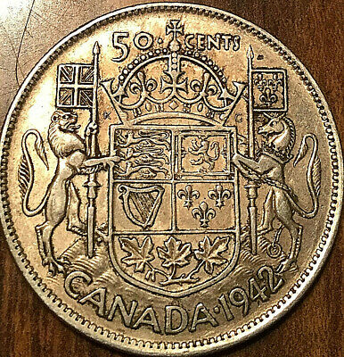 1942 Canada Silver 50 Cents Fifty Cents George Vi Half Dollar