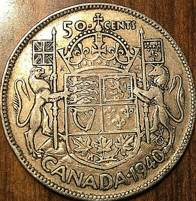 1940 Canada Silver 50 Cents Fifty Cents George Vi Half Dollar