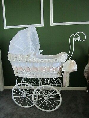 Vintage Style White Cane Dolls Pram for Collectible Dolls