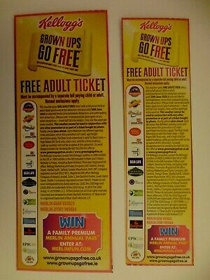 * * 2 x  Kelloggs/Merlin Entertainments 2 For 1 Adult Ticket Vouchers * *