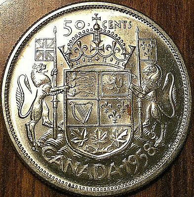 1958 Canada Silver 50 Cents Fifty Cents Elizabeth Ii Half Dollar