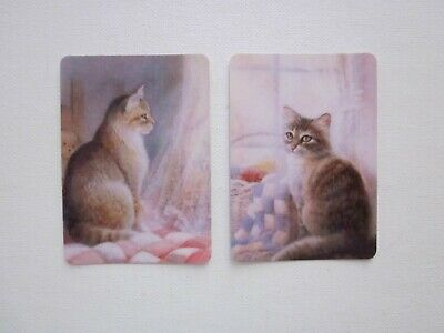 TWO SWAP CARDS - ART - BEAUTIFUL CATS - Unused