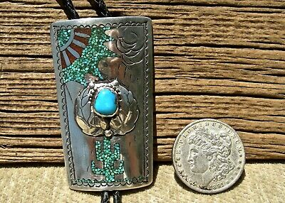 4657edc4ff86 vin NAVAJO STERLING SILVER TURQUOISE, CORAL CHIP INLAY CACTUS & SUN LG. BOLO  TIE