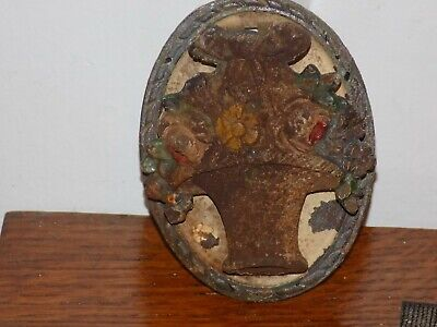 Hubley 1920's Basket of Flowers Door Knocker Cast Iron
