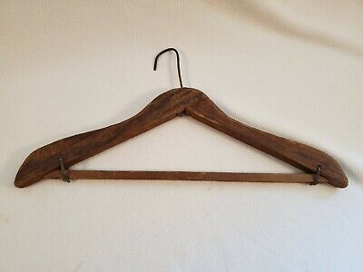Antique Primitive Hand Made Folk Craft Wood & Wire Clothes Hanger