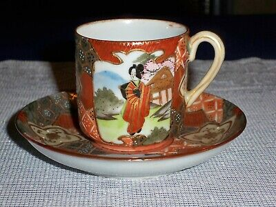 Antique Japanese Satsuma Porcelain Ceramic Cup and Saucer Hand Painted & Signed