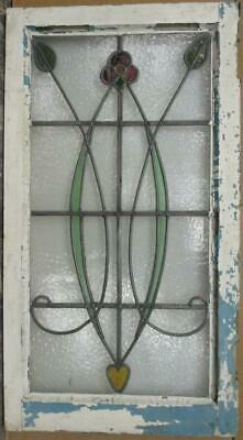 "LARGE OLD ENGLISH LEADED STAINED GLASS WINDOW Nice Floral with Heart 18.5"" x 34"""