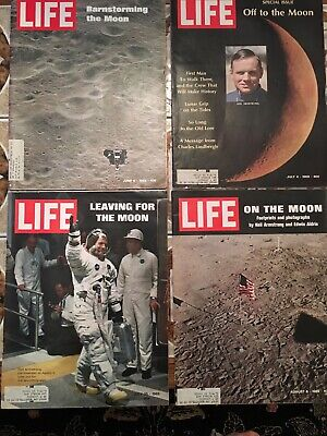 Life Magazine 1969 Lot Of 4. Including The Moon Landing Issue August 6, 1969 VG