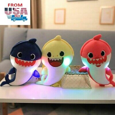 Baby Shark Doo Doo Singing Song Toy Fluff LED Plush Kids Animal Music Doll Gift