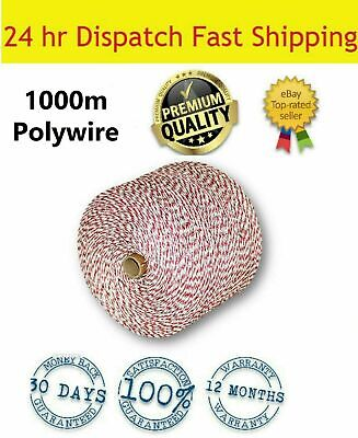 1000M Roll Polywire Electric Fence Energiser Stainless Steel Rope Poly Insulator