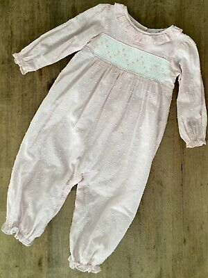 74bb8daf1 Cecil & Lou Pink Swiss Dot Smocked Long Bubble Romper Size 3T 3 Toddler Girl