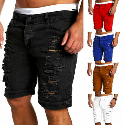 4ac13aef3b9 Summer Men's Casual Distressed Rip Colored Jean Short Pant Denim Ripped  Shorts