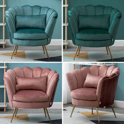 Lotus Seat Velvet Fabric Tub Chair Winged Scallop Shell Back Armchair Metal Legs