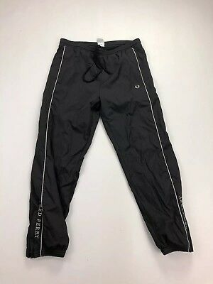 FRED PERRY Tracksuit Bottoms - Small - Black - Great Condition - Men's