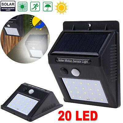 20 LED Solar Luz de Pared Impermeable Sensor de Movimiento Lámpara Exterior