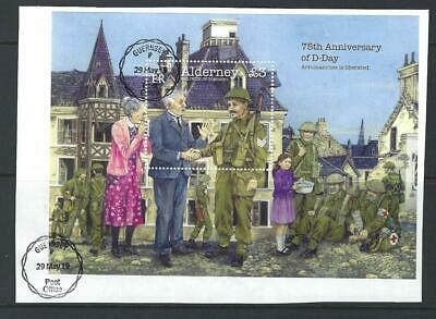 Alderney 2019 75Th Anniversary Of D-Day Miniature Sheet  Hand Stamped On Piece