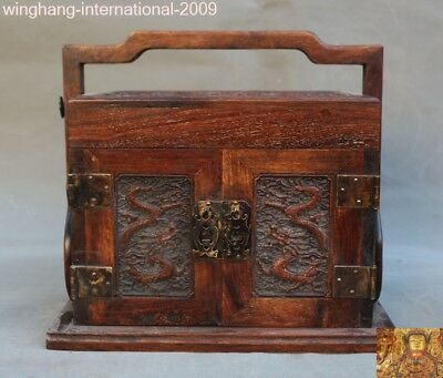 old China huanghuali wood carving animal Dragon statue jewelry Storage box boxes