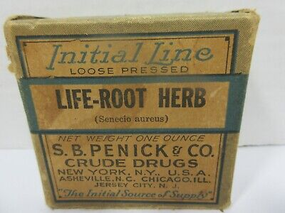 Antique Life Root Herb Apothecary Pharmacy Crude Drug Medicine Box Initial Line