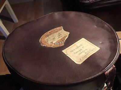 Vintage Brown Leather Antler Hat Box With Travel Labels